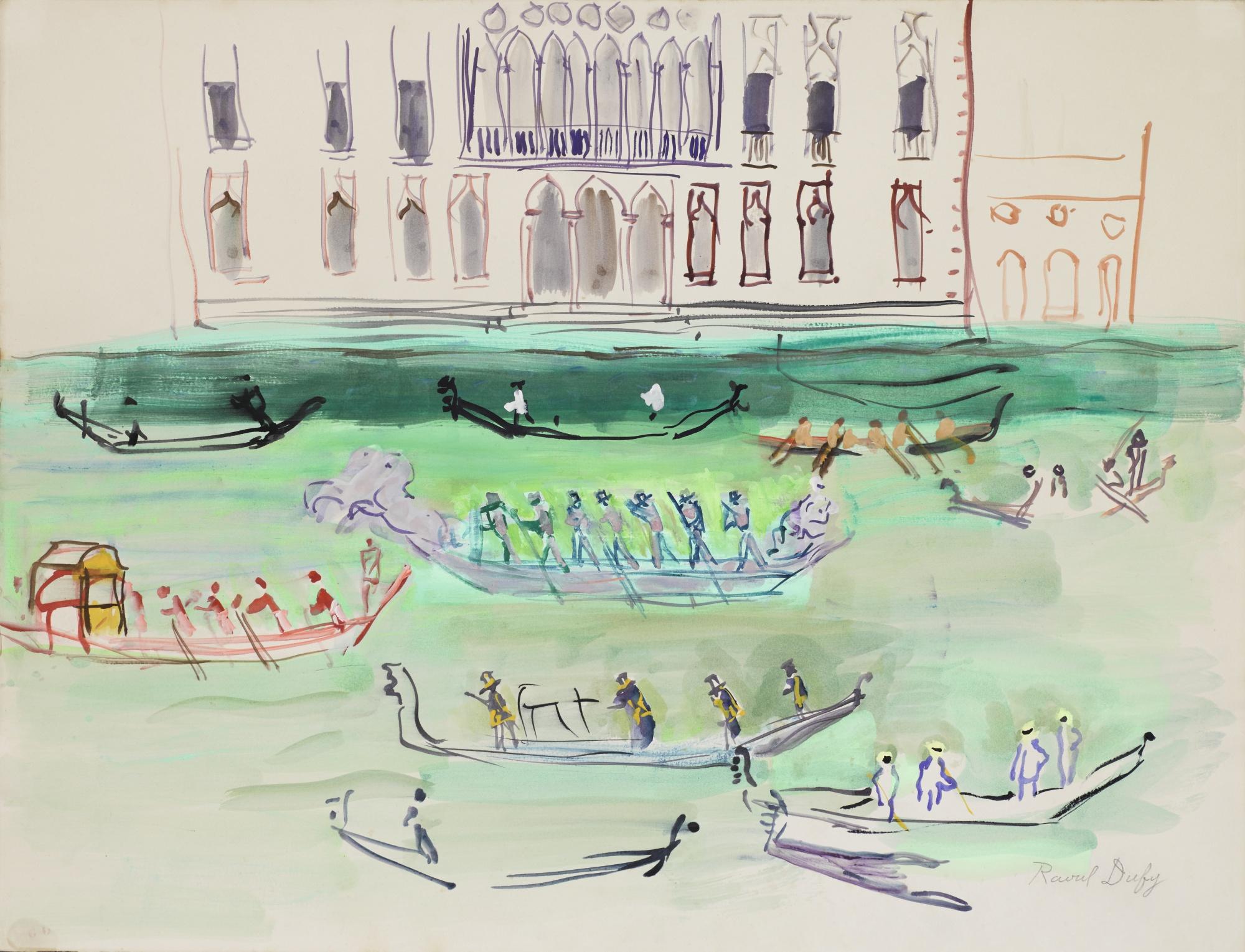 Raoul Dufy-Gondoles Sur Le Grand Canal-1952