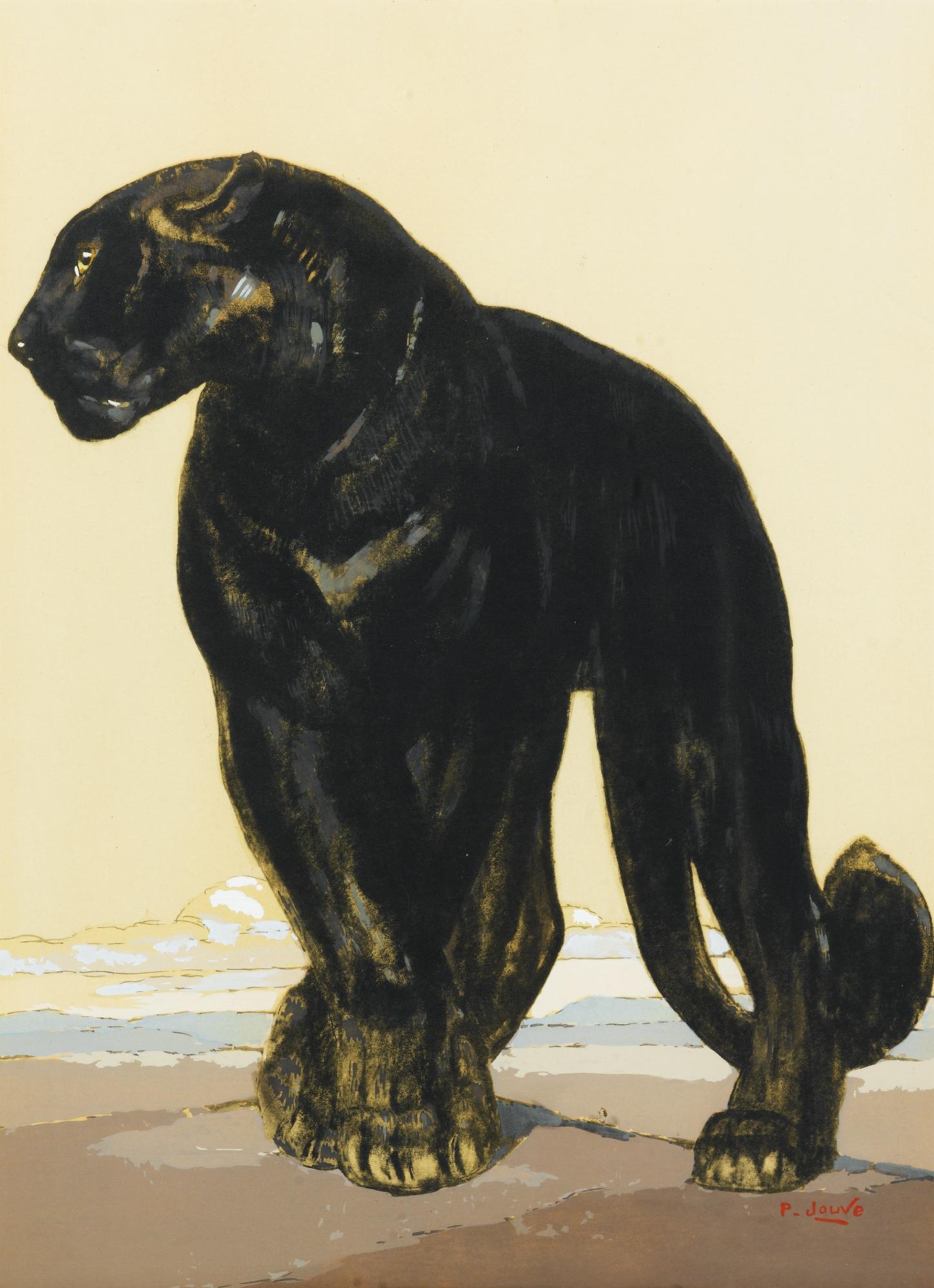 Paul Jouve-Panthere Noire Debout-
