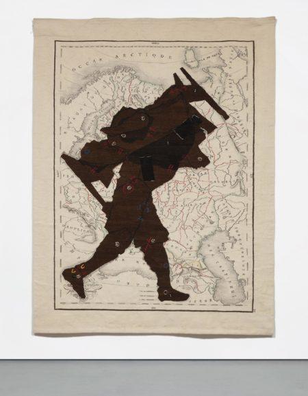 William Kentridge-Porter Series: Man with Bed on Black-2000