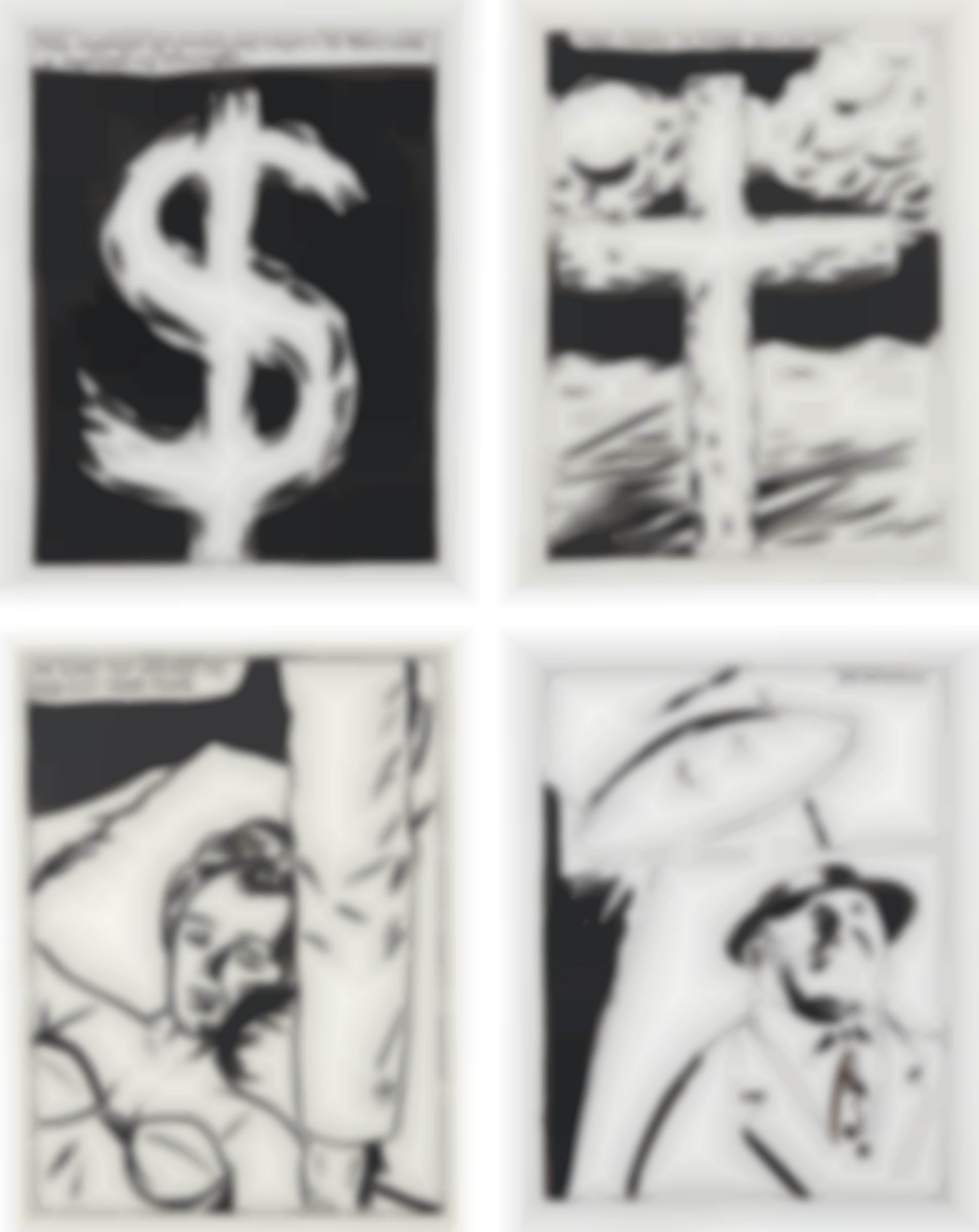 Raymond Pettibon-Four Works: (i) The Symbol of Weakness Begins To Turn Into A Symbol of Strength (ii) I'm Glad You Walked In, and Not Your Twin (iii) This Cross Is Made Of Fat (iv) Dr. Kinsey-2001