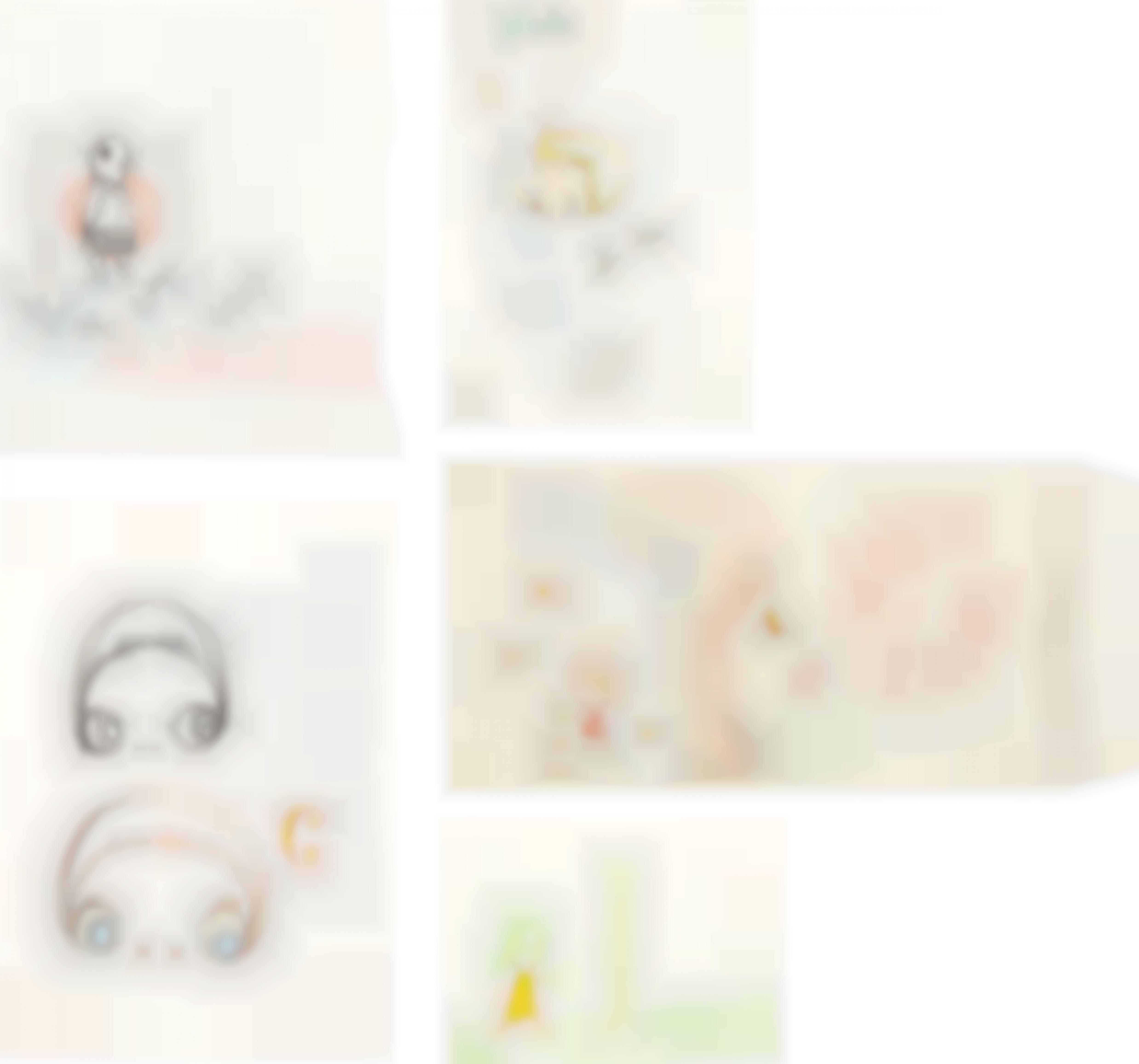 Yoshitomo Nara-Five Works: (i) Untitled (ii) Untitled (Two Little Faces) (iii) Words (iv) Leben Schaum (Live Foam) (v) No More-2002