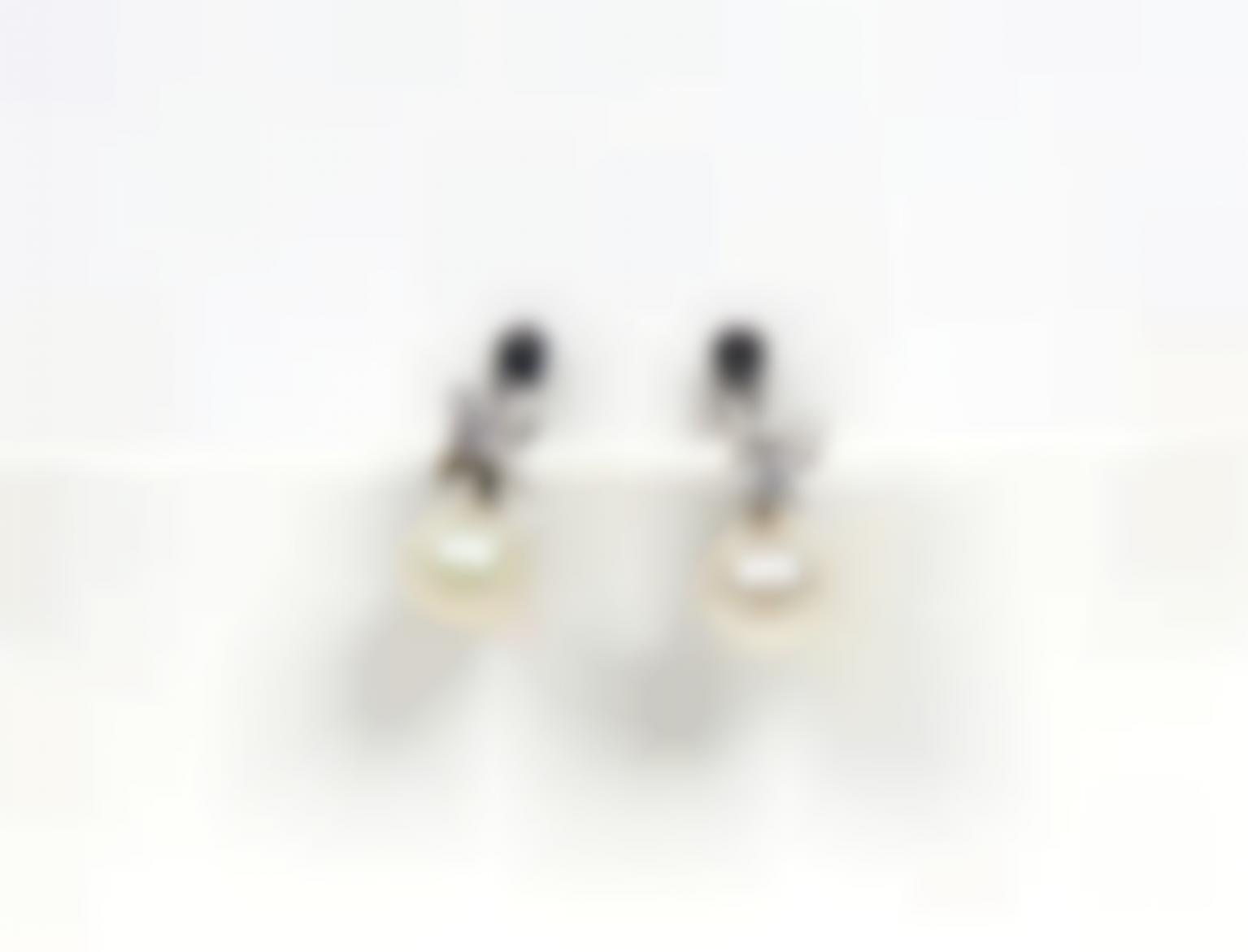 A Pair Of Sterling Silver, Pearl And Semi-Precious Stones Earrings-
