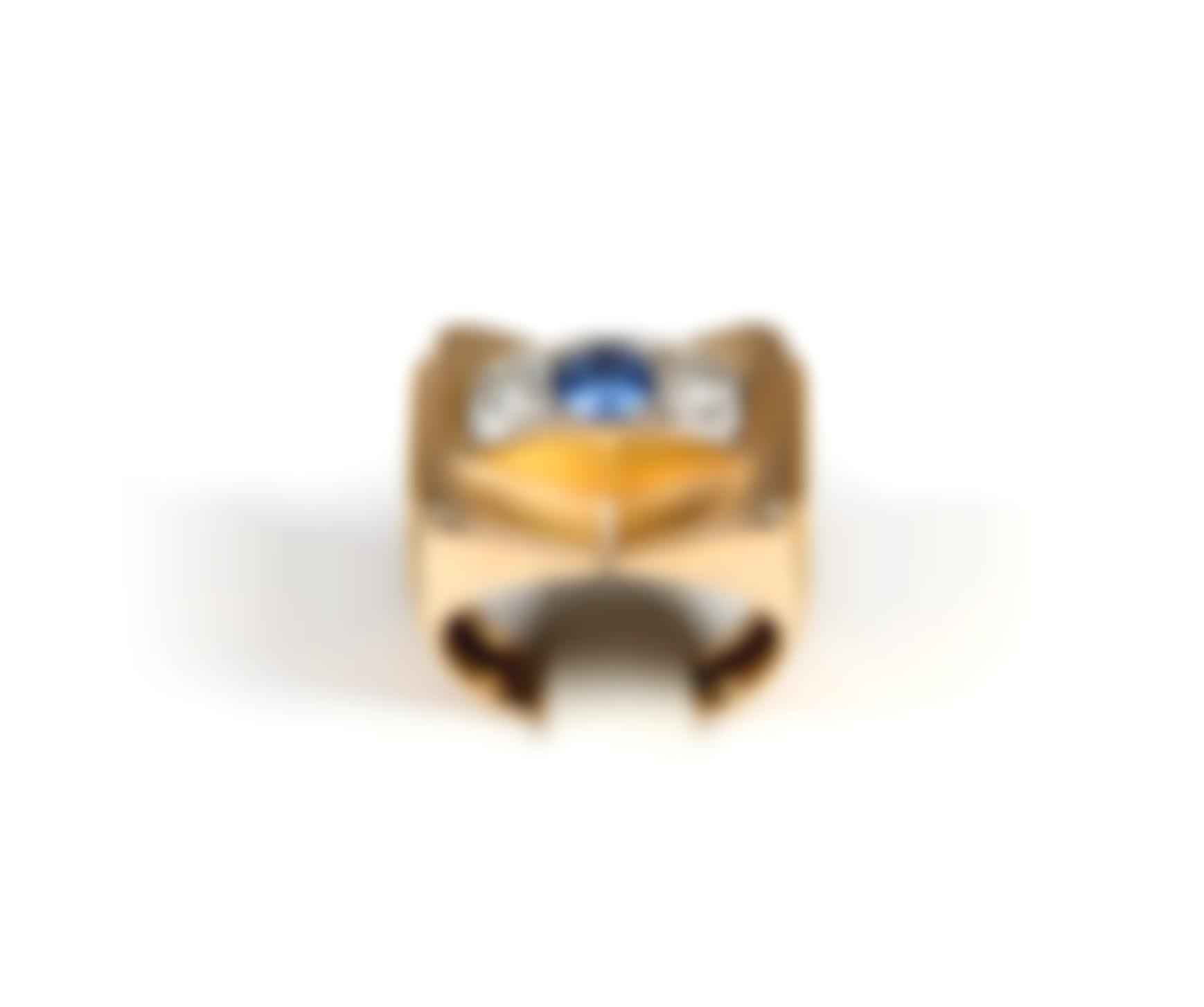 A Gold, Sapphire And Diamond Ring-