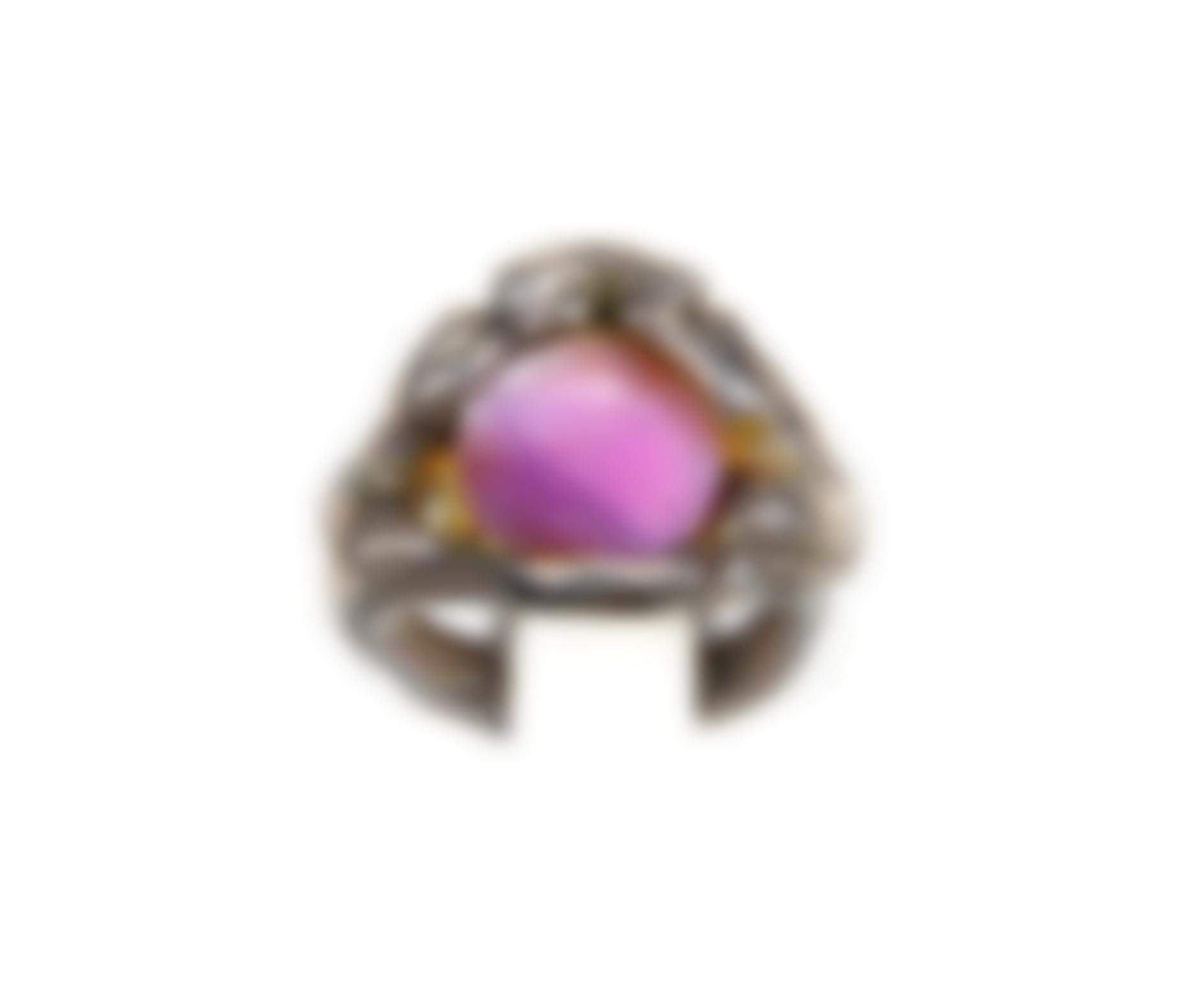 A Sterling Silver And Amethyst Ring-