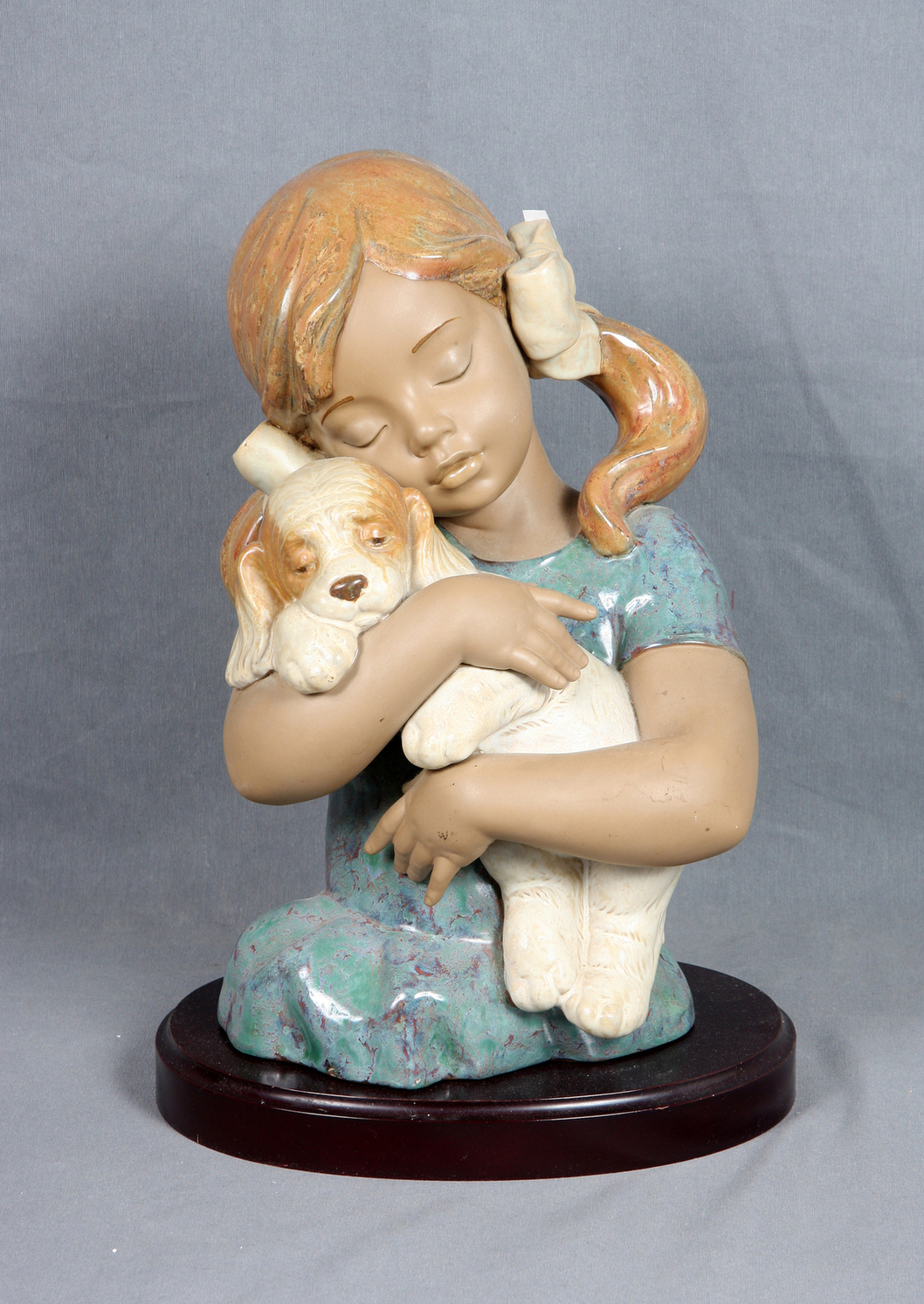 Lladro Polychrome Stoneware Figure - Girl with puppy-