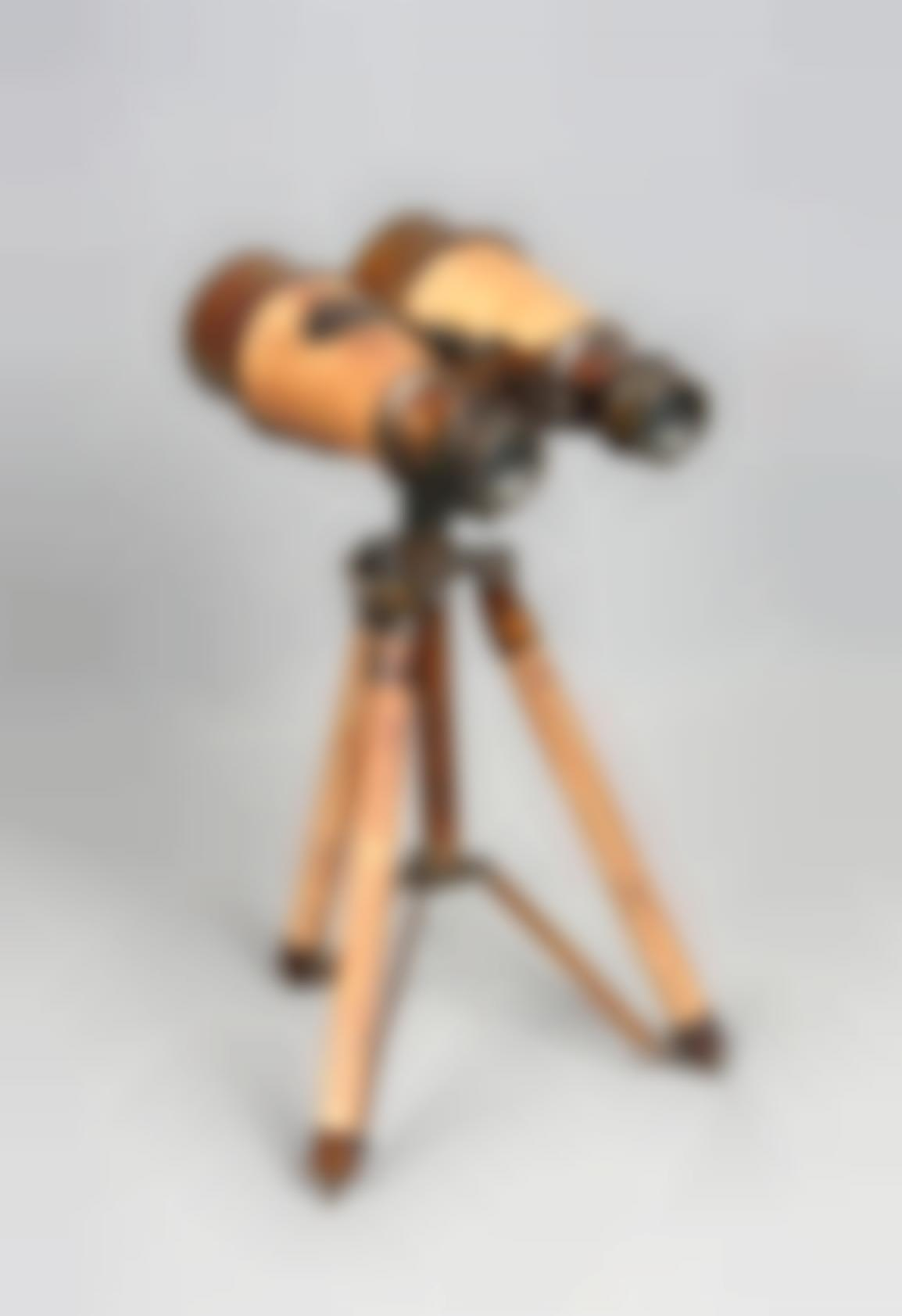 A Wood And Silver-Plated Binocular-