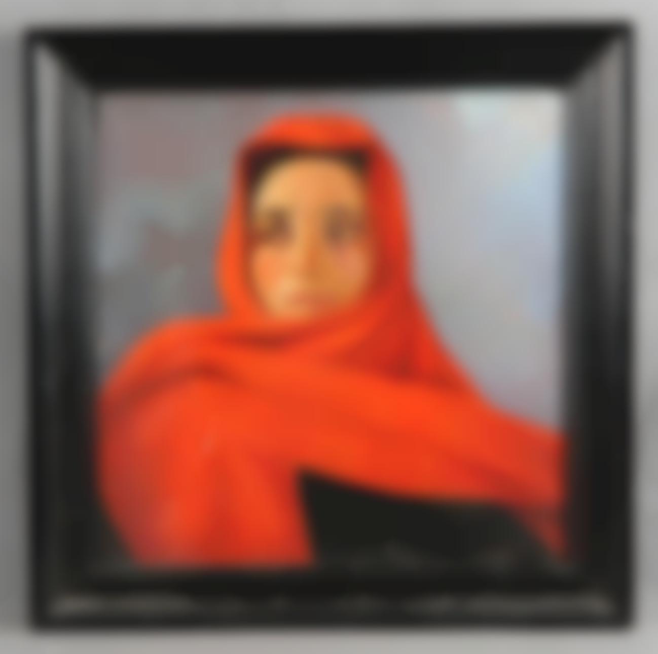 Castillo, Eduardo Del. Pintor Uruguayo - Mujer con panuelo rojo-