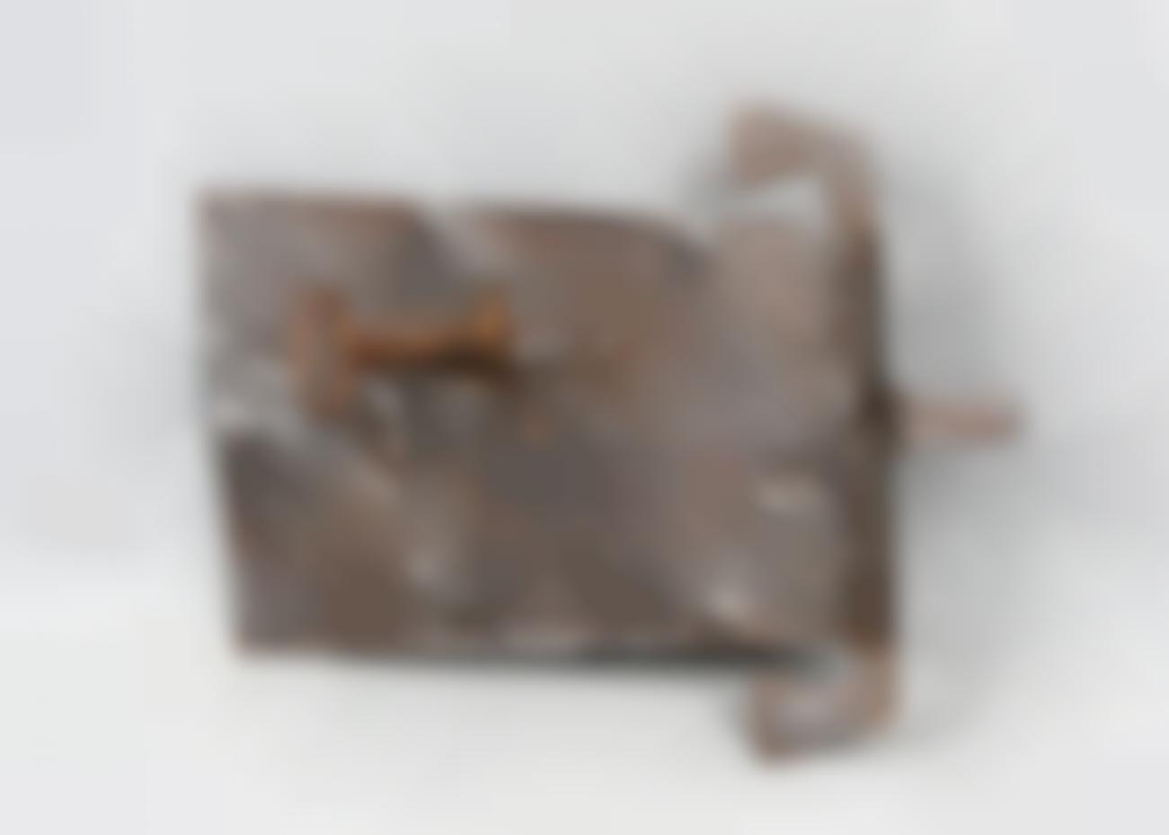 An Antique German Iron Door Lock And Key-