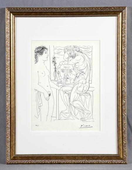Pablo Picasso-Modele nu et sculptures. Suite Vollard, Plate 52-