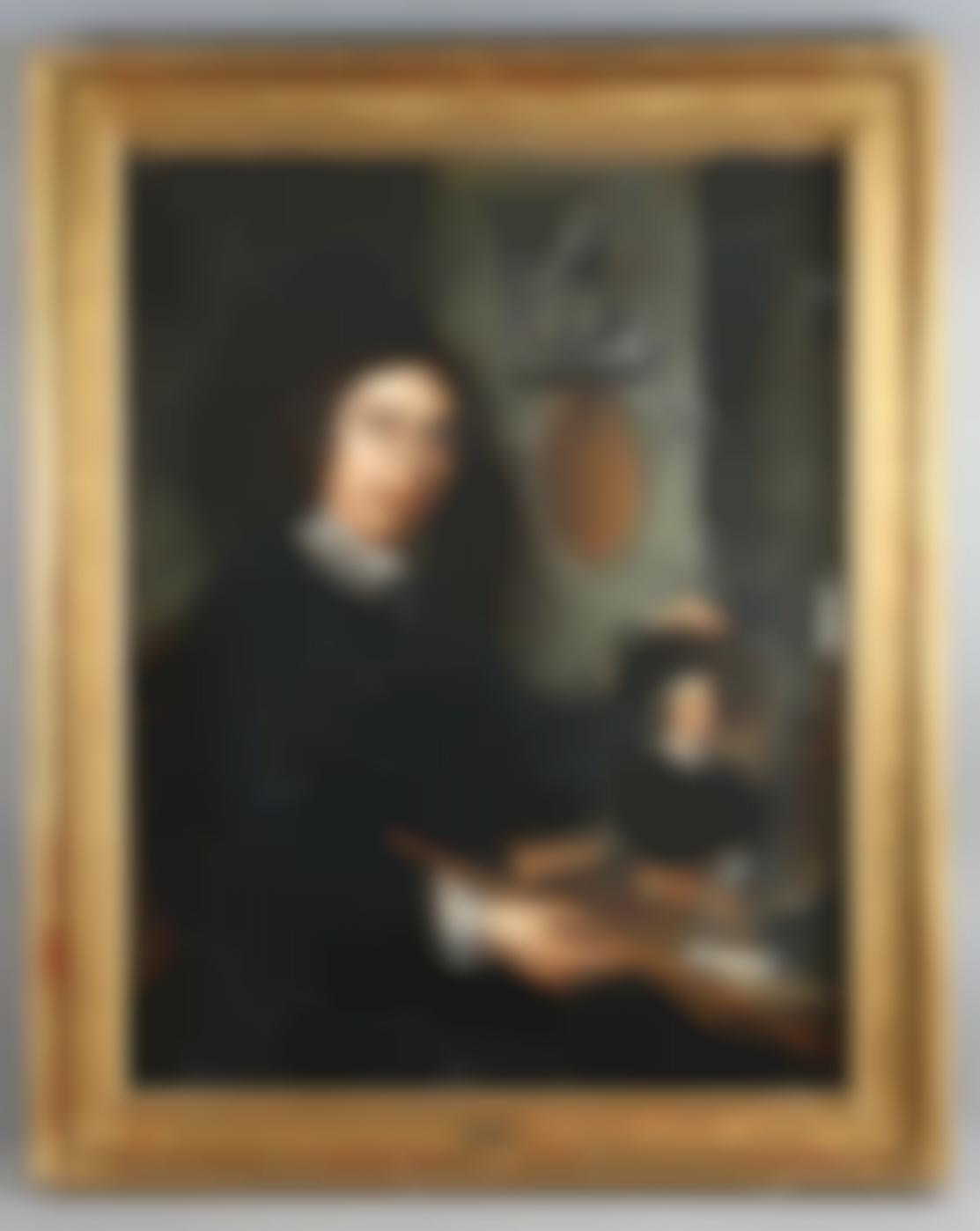 Attributed To Molenaer, Jan Miense - Self-portrait of the painter in his studio, holding a portrait of Van der Helst and recorded at the bottom of Franz Hals-