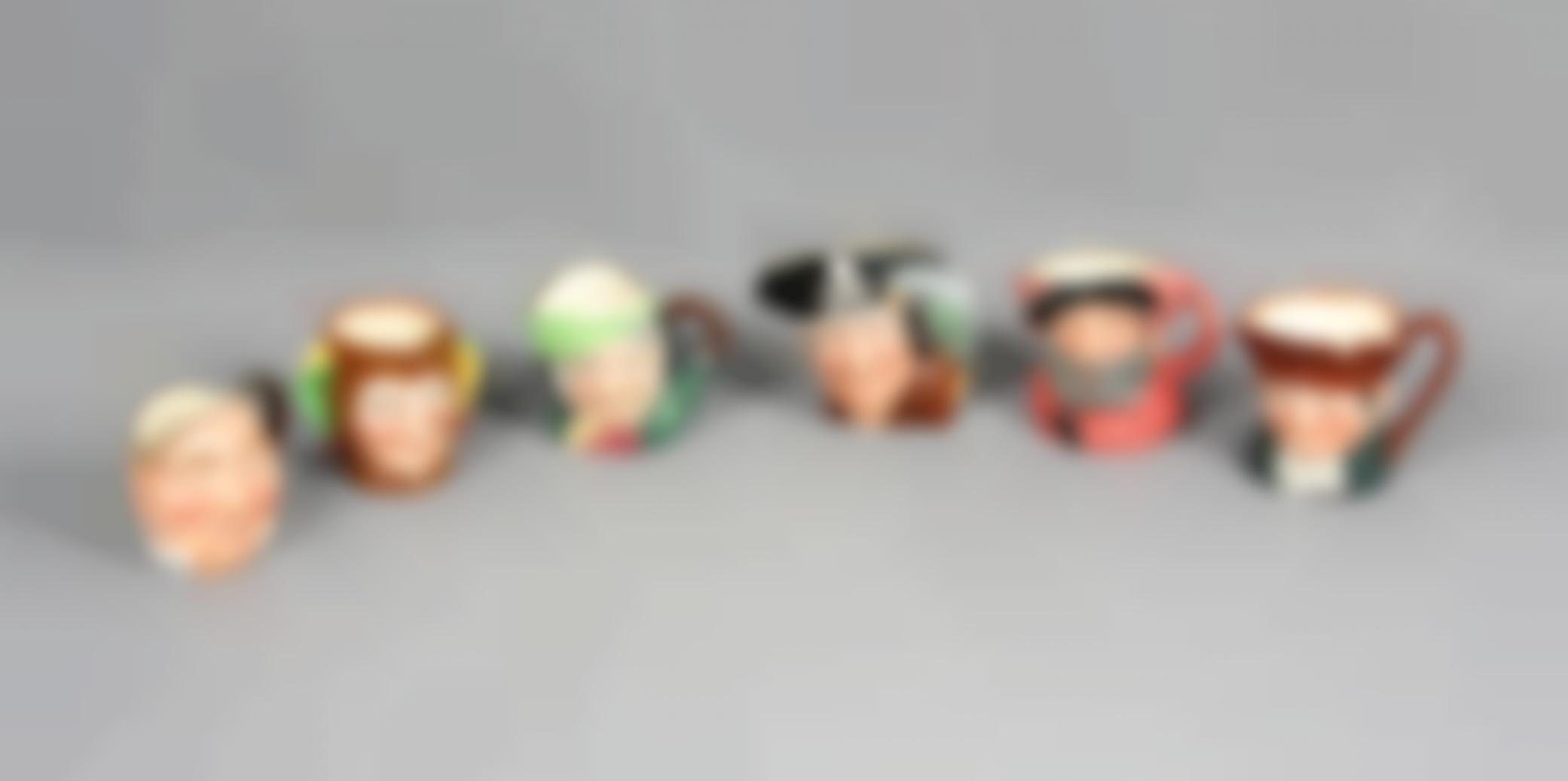 Six English Royal Doulton Porcelain Mugs-