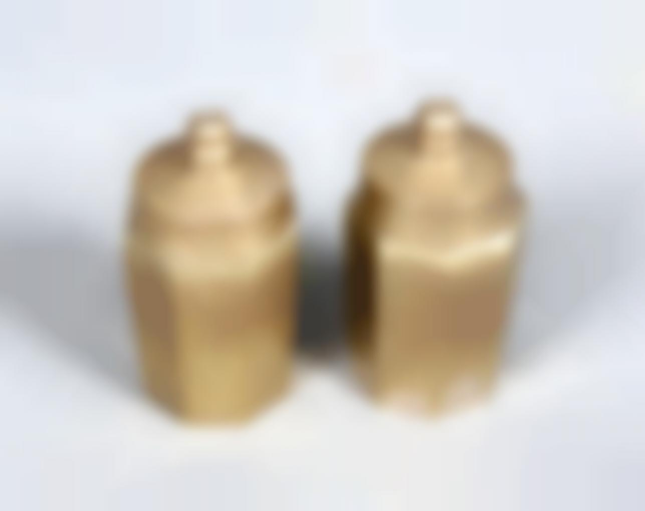A Pair Of Bronze Salt And Pepper Shakers-