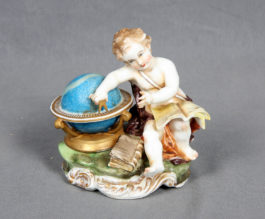 Hispania Spanish Polychrome Porcelain Figure - Angel geographer
