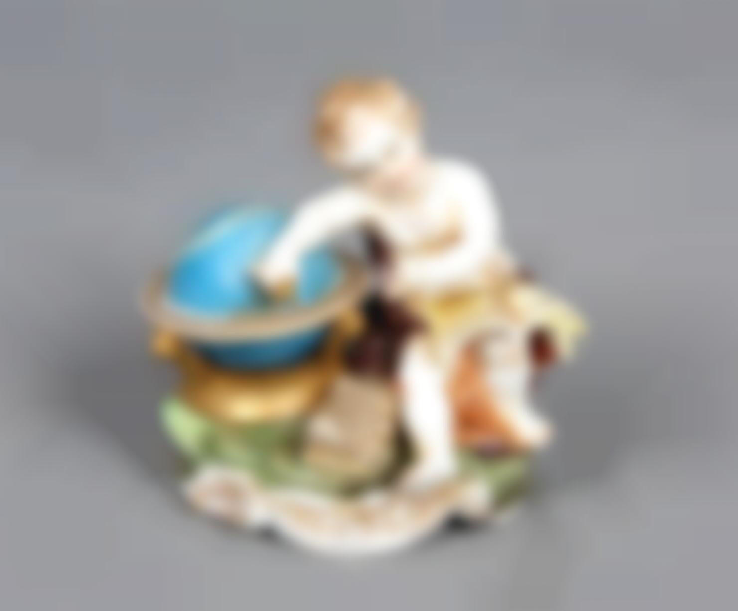 Hispania Spanish Polychrome Porcelain Figure - Angel geographer-