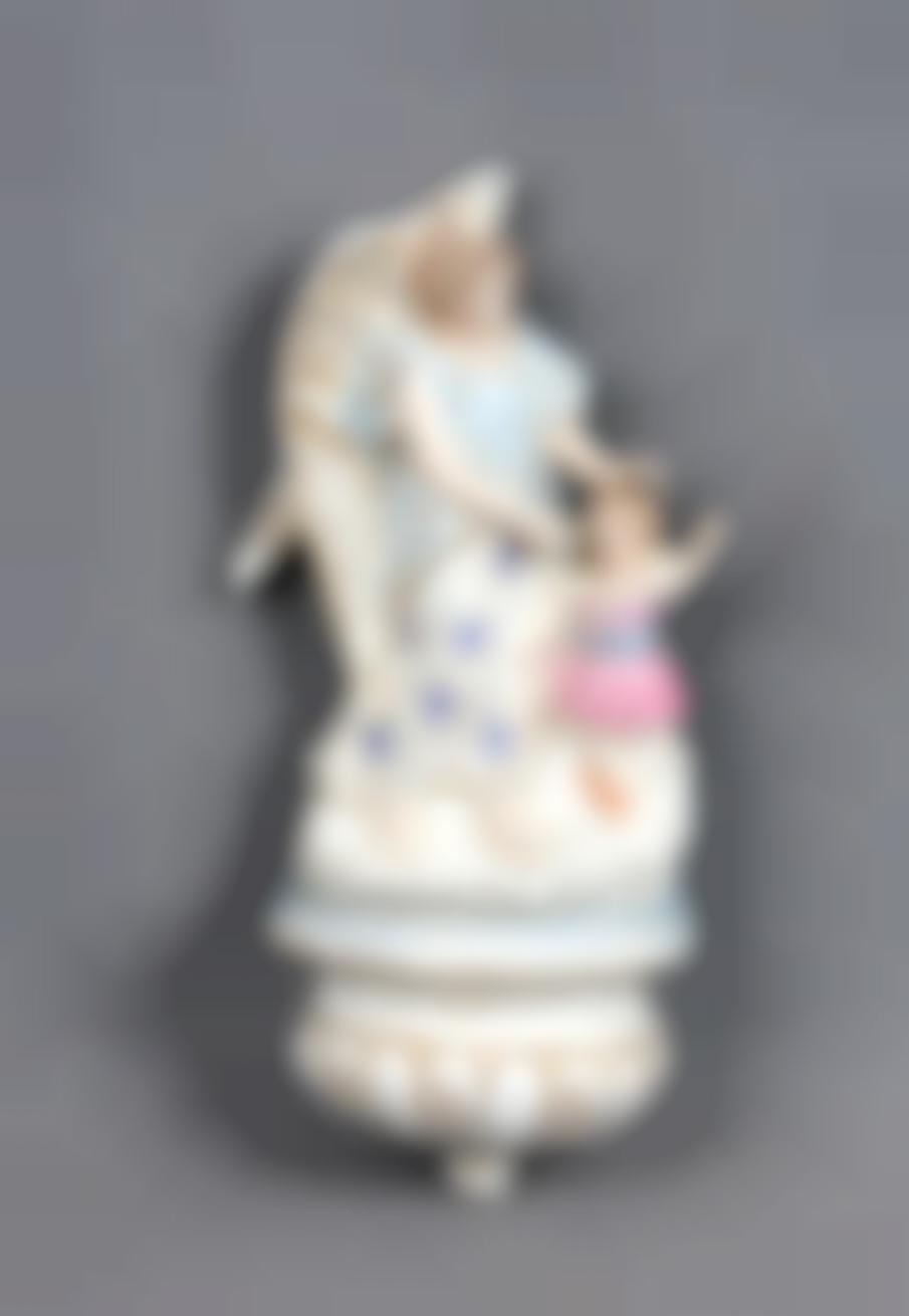 An Antique Polychrome Porcelain Home Stoup-