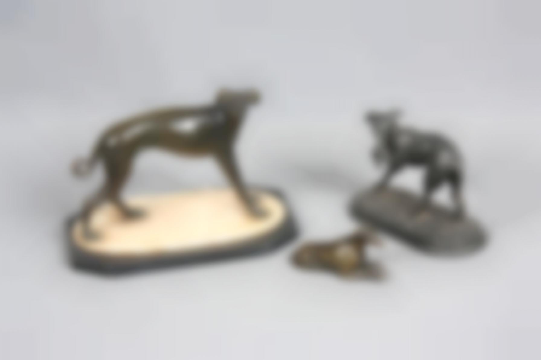Three Bronze Greyhound Figures - Greyhounds-