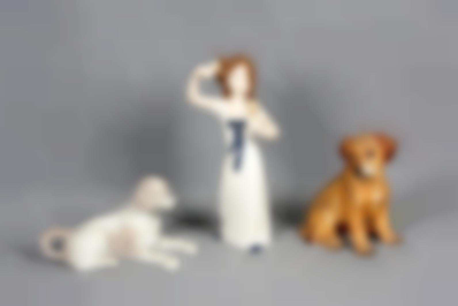 Two Porcelain Dog Figures-