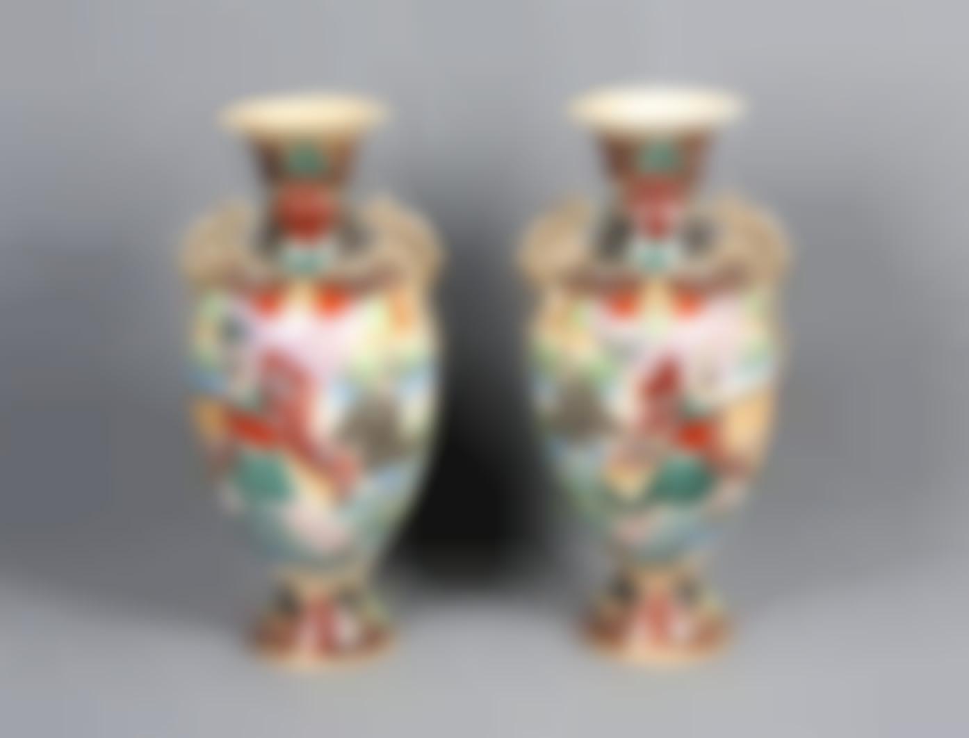 A Pair Of Japanese Satsuma Porcelain Vases, 19Th Century-
