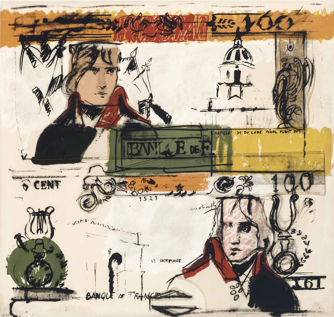 Larry Rivers-Double French Money, from Four on Plexiglas-1969