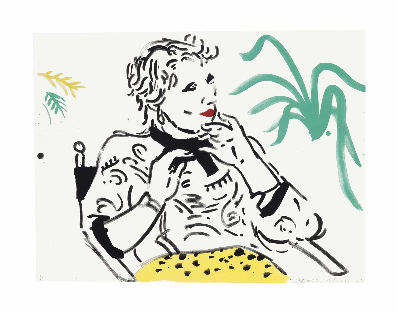 David Hockney-Celia with Green Plant-1981