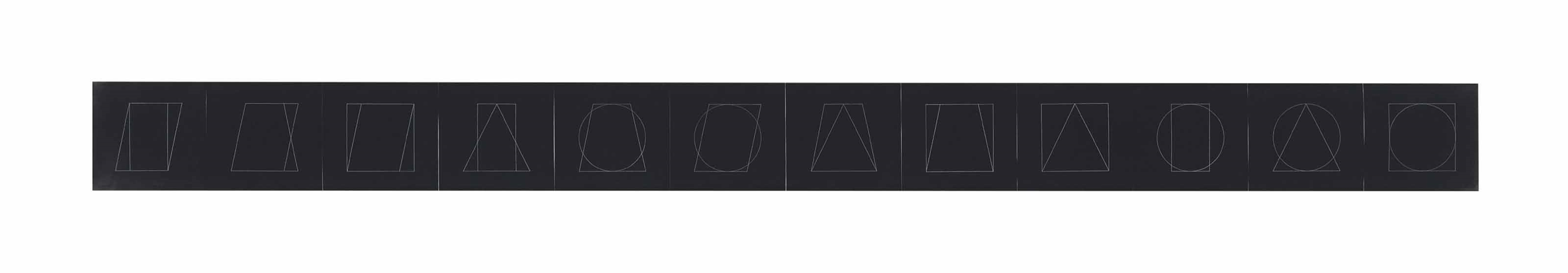 Sol LeWitt-All Double Combinations (Superimposed) of Geometric Figures (Circle, Square, Triangle, Rectangle, Trapezoid, Parallelogram): twelve plates-1977