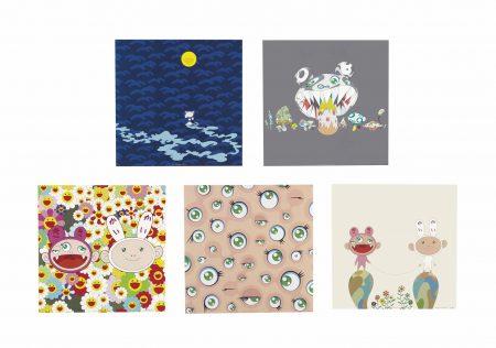 Takashi Murakami-Five Prints by the Artist (Moon, 2001; Jelly fish eyes, 2001; Kaikaikiki news, 2001; Here Comes Media, 2001; Red Rope, 2001)-2001