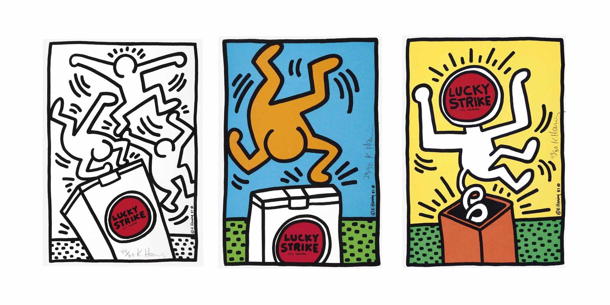 Keith Haring-Lucky Strike: Three Prints-1987