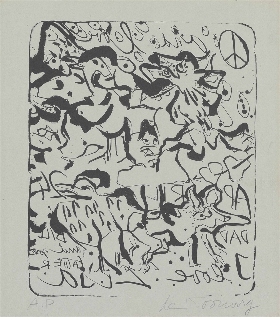 Willem de Kooning-Untitled (Peace Symbol and animal figures also known as I love Lisa)-1970