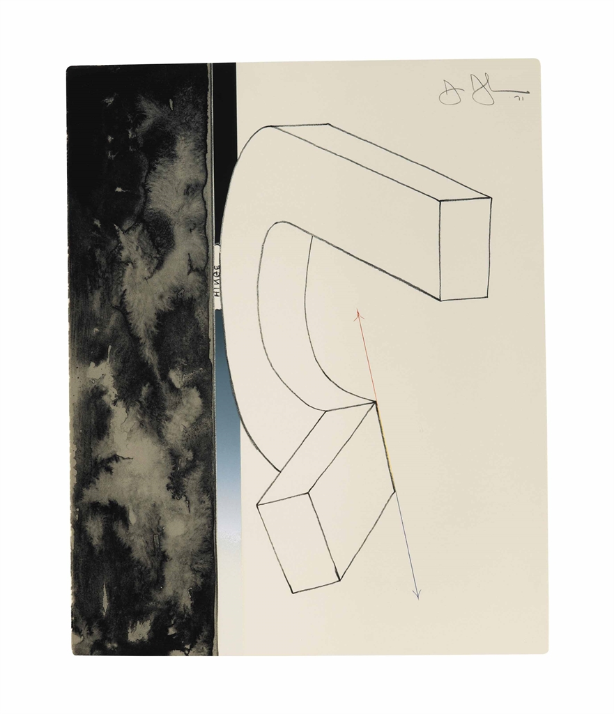 Jasper Johns-Bent 'U', from Fragment—According to What-1971