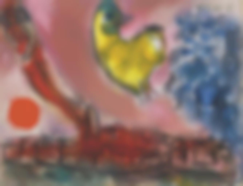 Marc Chagall-Le coq jaune dans le ciel de Vence-1965