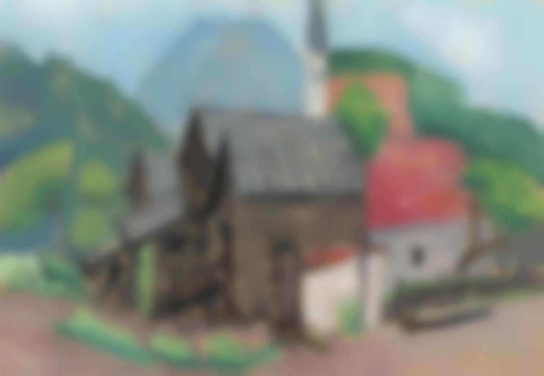 Gabriele Munter-Dorfliche Hausergruppe mit Kirchturm-