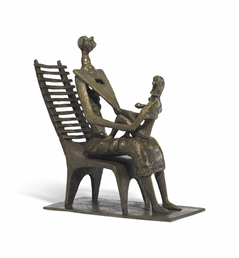 Henry Moore-Mother and Child on Ladderback Chair-1952