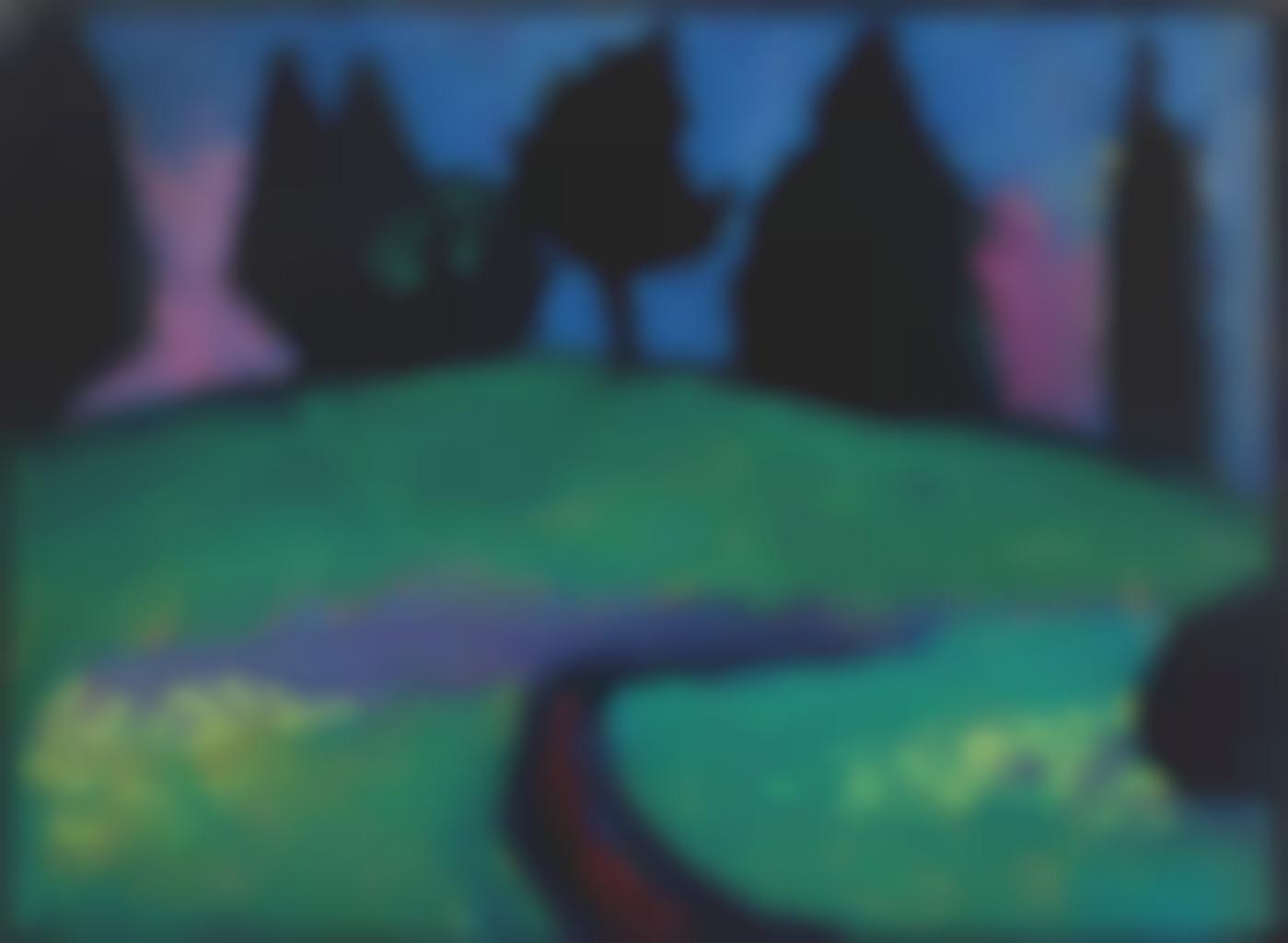 Alexej von Jawlensky-Dunkle Baume uber grunem Hang-1910