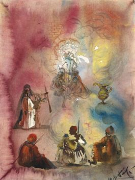 Salvador Dali-Colonne avec chapiteaux soutenue par trois personnages et une lampe-1966