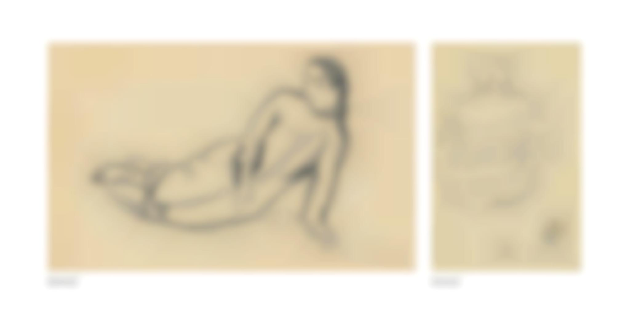 Paul Gauguin-Tahitienne etendue (recto); Tahitienne vue de dos (verso)-