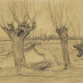 Piet Mondrian-Three Pollarded Willows, Irrigation Ditch and Farmstead in the Distance-1905
