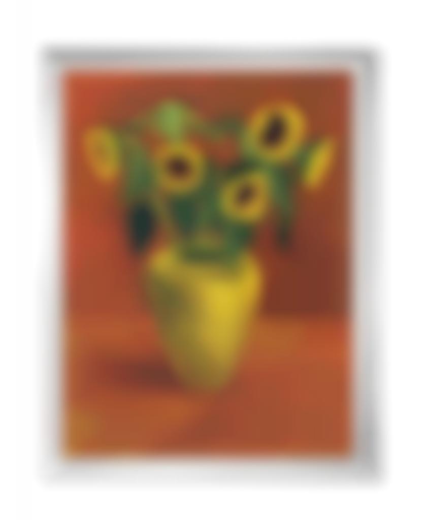 David Hockney-Sunflowers In a Yellow Vase-1996