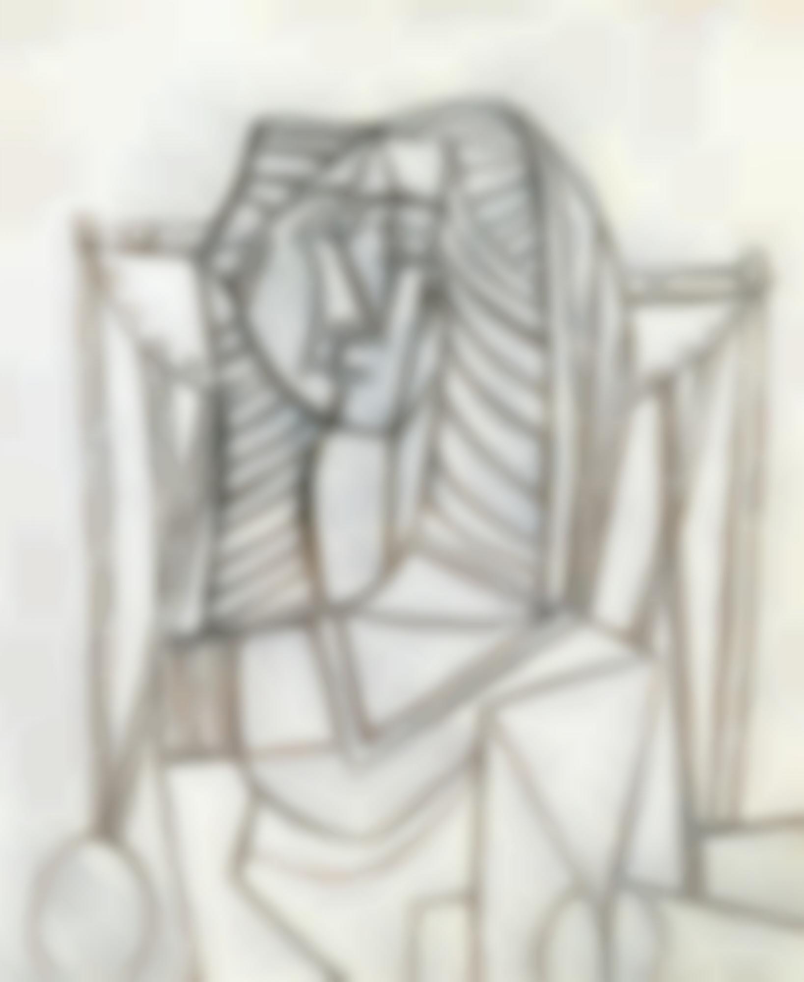 Pablo Picasso-Femme Assise Dans Un Fauteuil Sur Fond Blanc-1953