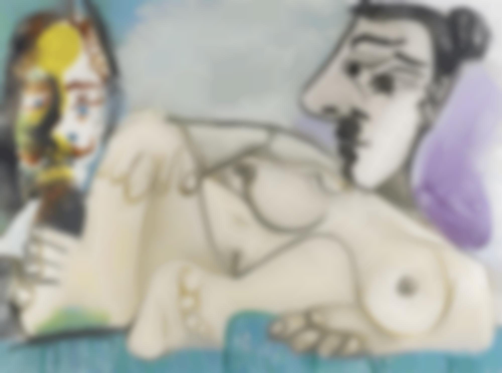Pablo Picasso-Nu Couche Et Tete D'Homme-1967
