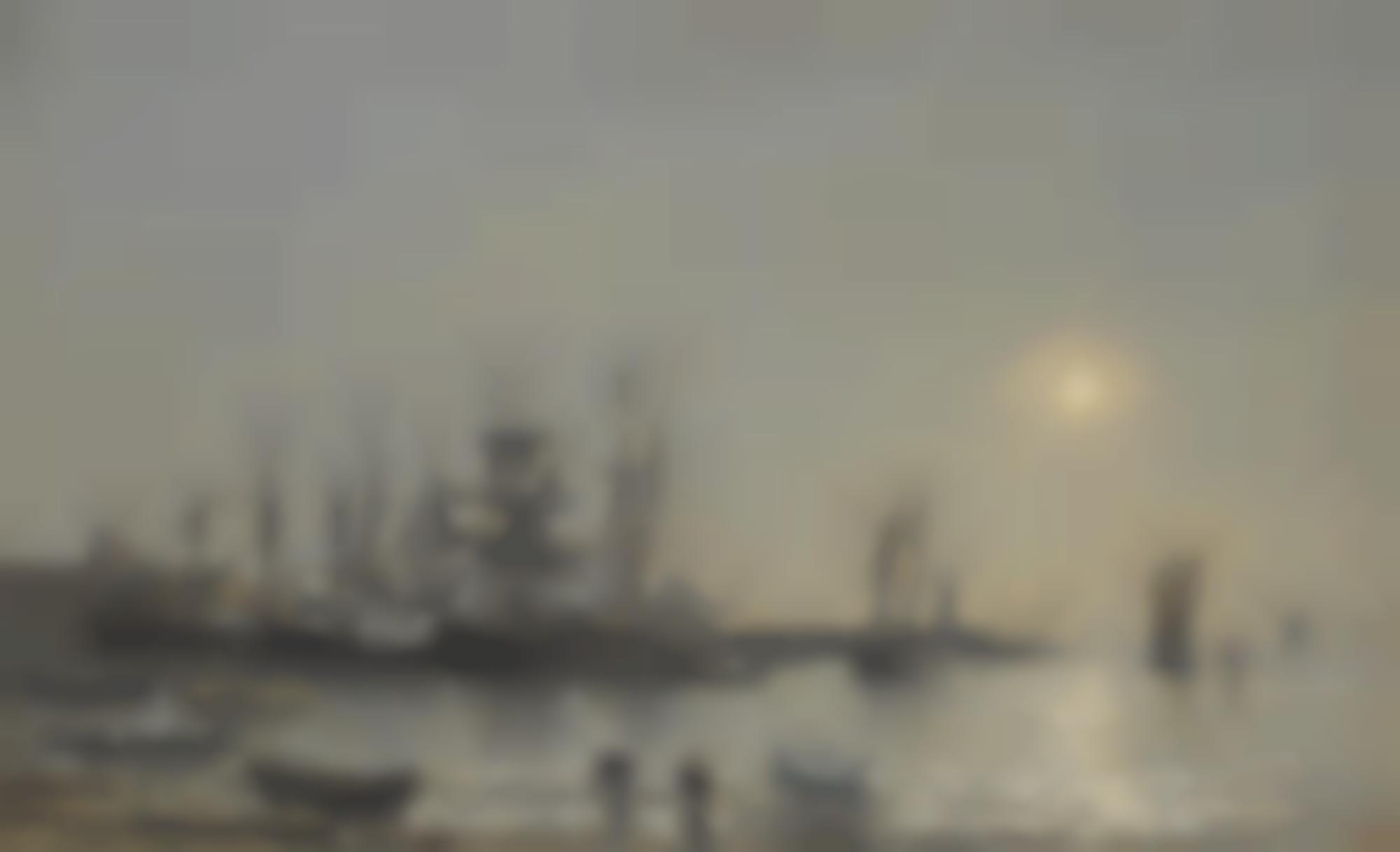 Eugene Louis Boudin-Portrieux, Bateaux A L'Ancre Dans Le Port-1873