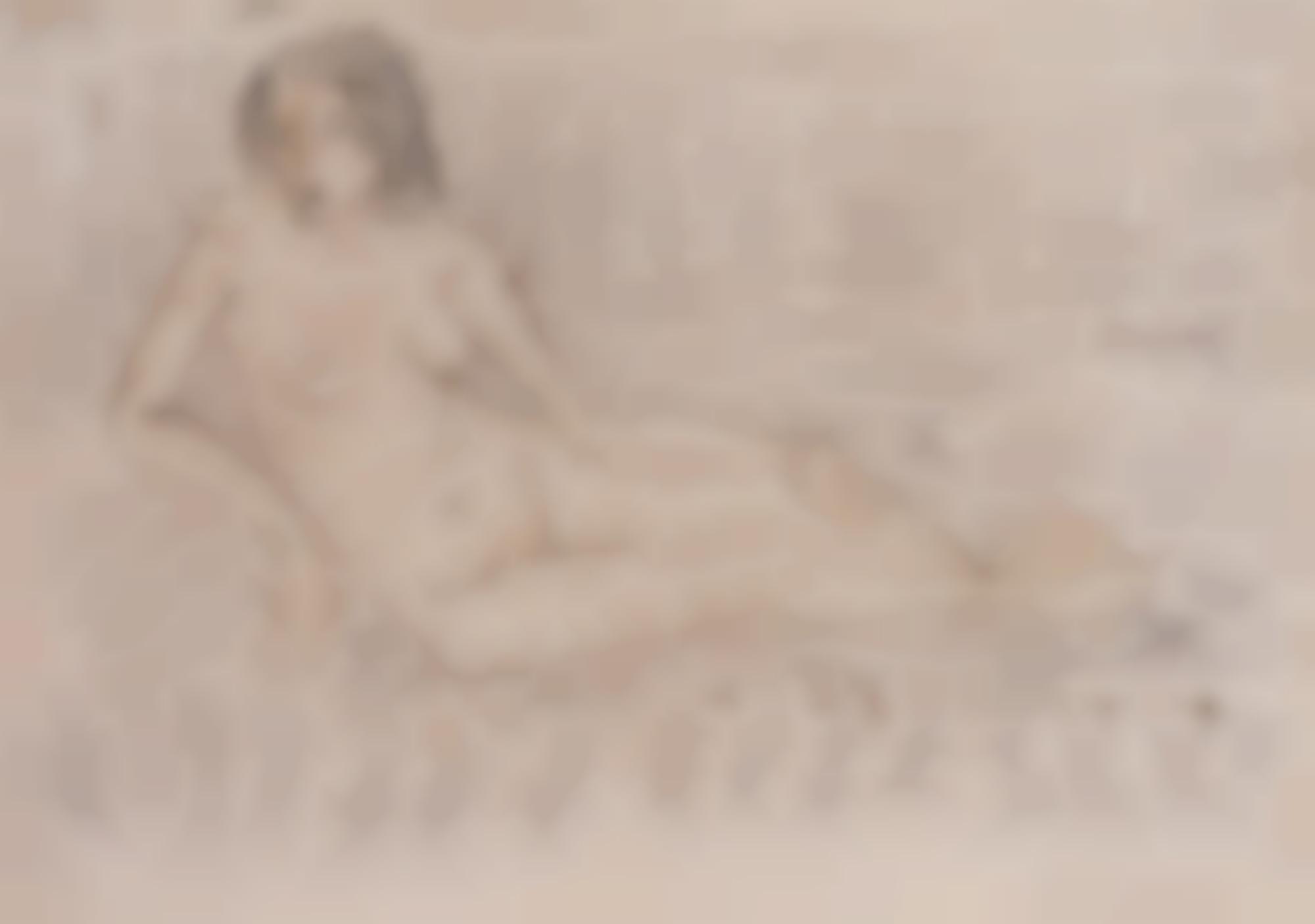 Otto Mueller-Liegender Akt (Reclining Nude)-1921