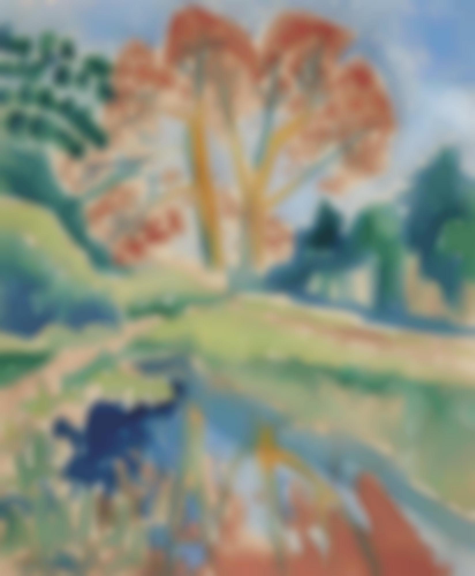Max Pechstein-Herbstbaum Mit Spiegelung (Autumnal Tree With Reflection)-