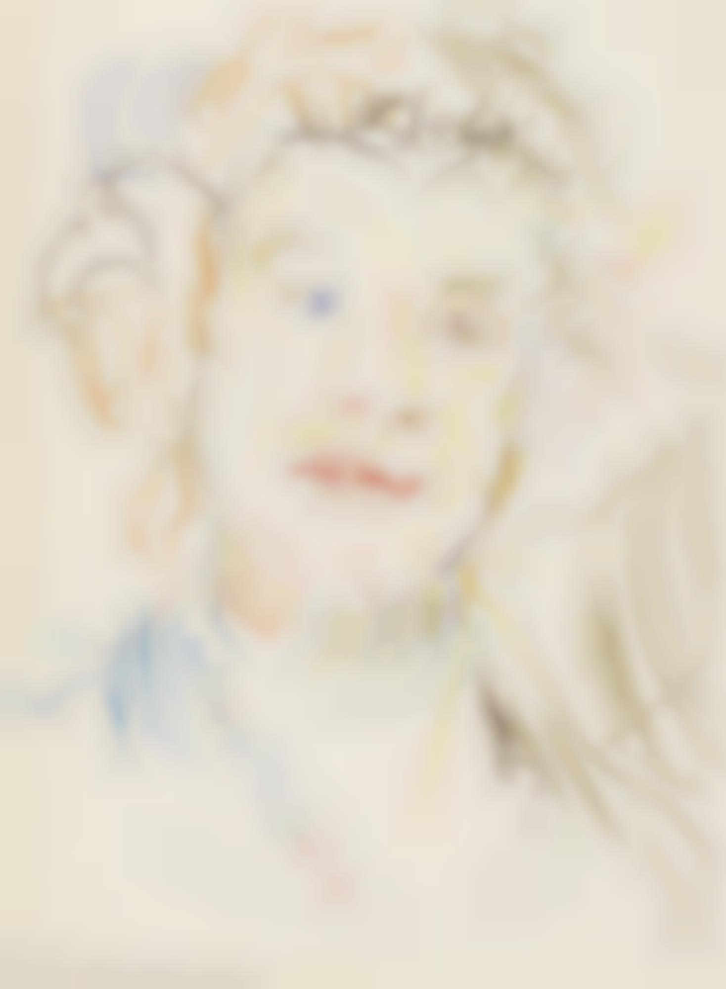 Oskar Kokoschka-Portrait Of Olda Kokoschka - Recto Grapes - Verso-