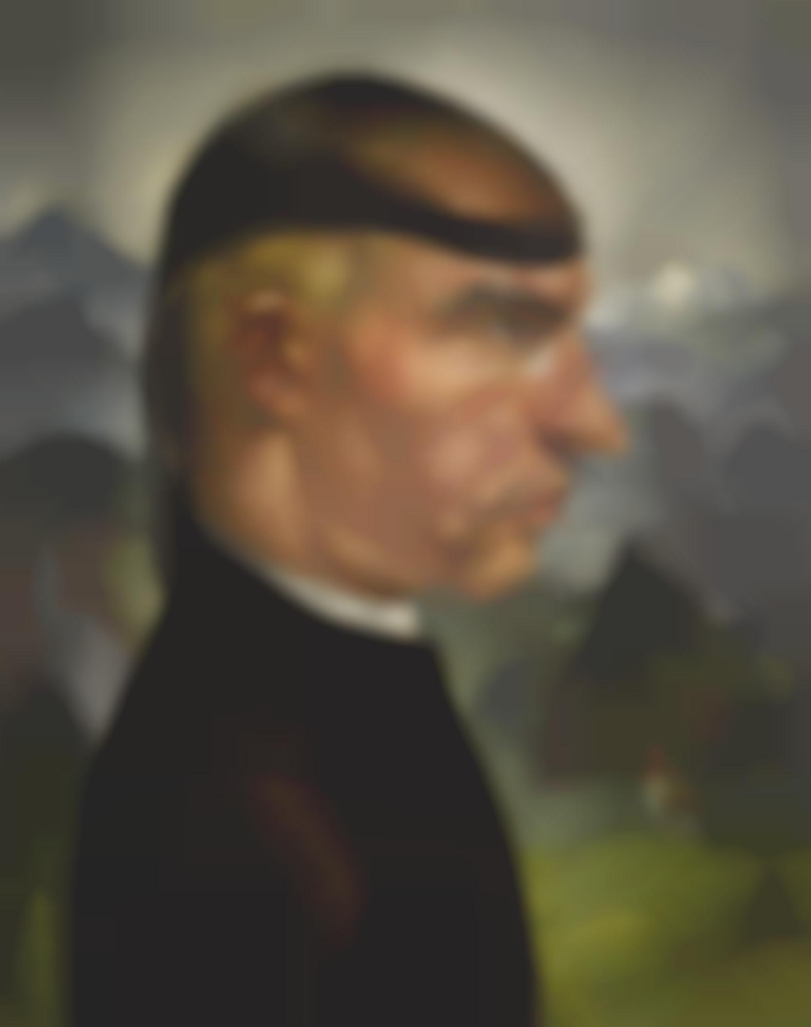 Albert Birkle-Selbstbildnis Mit Der Frisierhaube (Self-Portrait With Hairnet)-1923