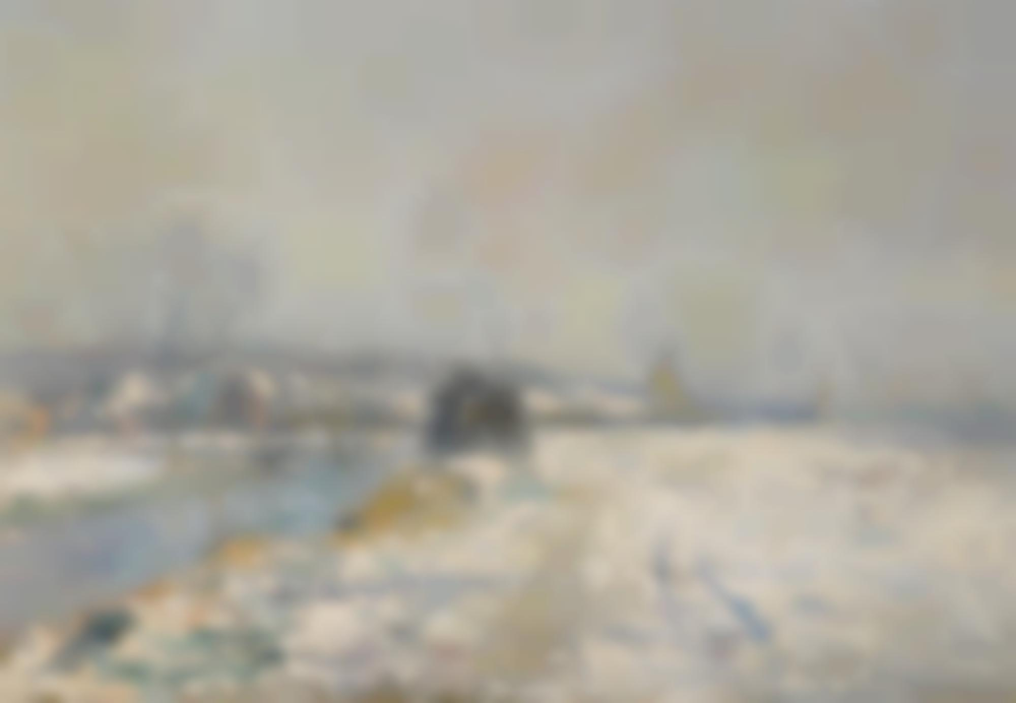 Albert Lebourg-Les Bords De L'Iton A Hondouville, Effet De Neige-1901