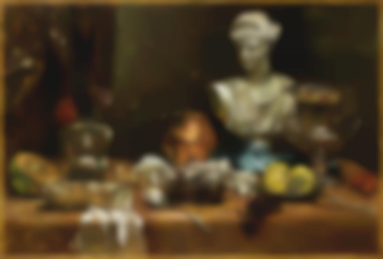 Giorgio de Chirico-Vita silente di oggetti su tavolo-1959