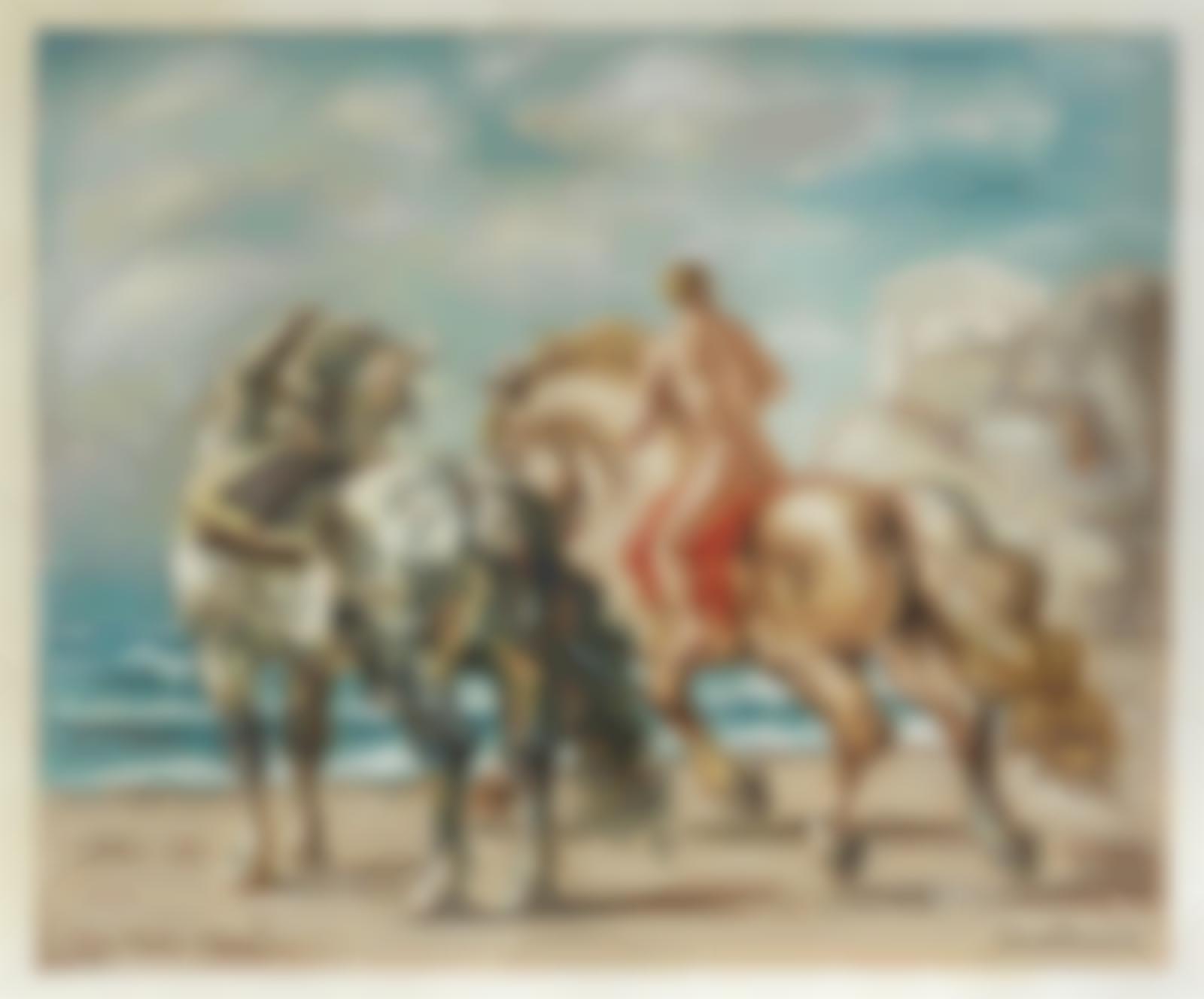 Giorgio de Chirico-Cavalli e cavaliere in riva al mare-1934