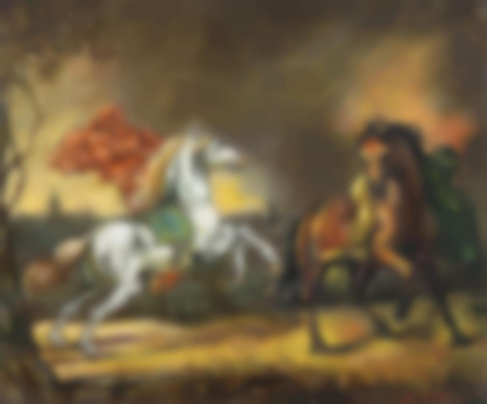 Giorgio de Chirico-Cavalli spaventati-1960