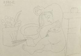 Pablo Picasso-Femme nue a sa toilette-1970