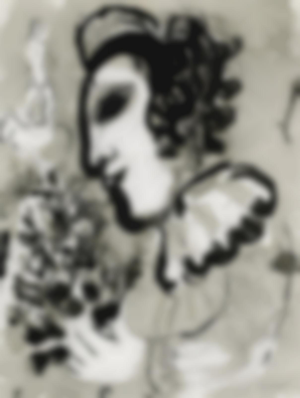Marc Chagall-Clown au bouquet de fleurs-1975
